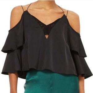 TOPSHOP double sleeve lace cami top